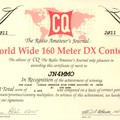 Certificate winners of the 2011 CQ WW DX 160 Meter
