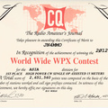 Certificate winners of the 2012 CQ WW WPX Contest