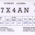 Newly arrived QSL from 7X4AN