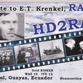 Newly arrived QSL from HD2RAE