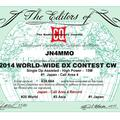 Certificate winners of the 2014 CQ WWCW Contest
