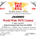 Certificate winners of the 2017 CQ WPX CW Contest
