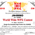 Certificate winners of the 2018 CQ WPX CW Contest